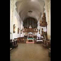 Linz, Stadtpfarrkirche, Innenraum / Hauptschiff in Richtung Orgel