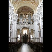 St. Florian (bei Linz), Stiftskirche, Innenraum / Hauptschiff in Richtung Orgel