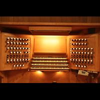 Linz, Maria-Empfängnis-Dom (Hauptorgel), Spieltisch der Marcussen-Orgel