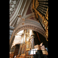 Passau, Dom St. Stephan, Evangelienorgel, Hauptorgel und im Hintergrund die Epistelorgel