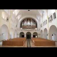 Vilshofen (Schweiklberg), Benediktinerabtei St. Trinitatis, Innenraum / Hauptschiff in Richtung Hauptorgel