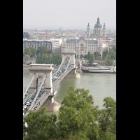 Budapest, Szent István Bazilika (St. Stefan Basilika), Blick vom Budavári Palota zur Széchenyi lánchíd (Brücke) und zur Basilika