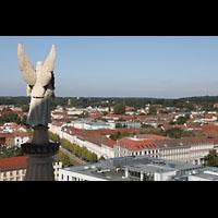 Potsdam, St. Nikolai (Hauptorgel), Blick von der Kuppe zur Friedenskirche und zum Schloss Sanssouci
