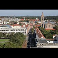 Potsdam, St. Nikolai (Hauptorgel), Blick von der Kuppel zur Propsteikirche St. Peter und Paul und zum Nauener Tor