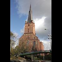 Szczecin (Stettin), Katedra sw. Jakuba (Jakobskathedrale), Kathedrale mit Fußgängerbrücke im Vordergrund
