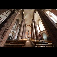 Szczecin (Stettin), Katedra sw. Jakuba (Jakobskathedrale), Innenraum in Richtung Chor, am oberen Rand die Spanischen Trompeten