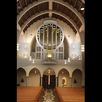 Stuttgart, St. Fidelis, Orgel (mit Beleuchtung - Seitenfluter)