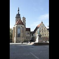 Stuttgart, Stiftskirche (Hauptorgel), Außenansicht vom Schillerplatz aus