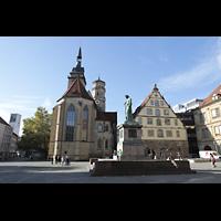 Stuttgart, Stiftskirche (Hauptorgel), Schillerplatz mit Stiftskirche und Schillerdenkmal