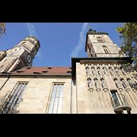 Stuttgart, Stiftskirche (Hauptorgel), Seitenansicht von der Kirchstraße aus mit beiden Türmen