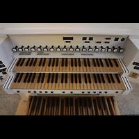 Rottenburg, Dom St. Martin, Spieltisch der Chororgel,mittlere Registerstaffel = Register der Chororgel
