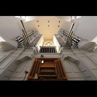 Rottenburg, Dom St. Martin, Hauptorgel mit Spieltisch perspektivisch