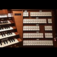 Trondheim, Nidarosdomen (Wagner-Orgel), Spieltisch der Hauptorgel, rechte Registerstaffel