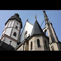 Leipzig, Thomaskirche - Bachorgel, Turn und Dach, seitlich gesehen