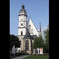 Leipzig, Thomaskirche - Bachorgel, Außenansicht mit Turm von der Chorseite