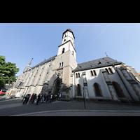 Leipzig, Thomaskirche - Bachorgel, Außenansicht seitlich mit Thomaskirchhof
