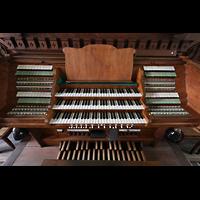 Leipzig, Thomaskirche - Bachorgel, Spieltisch der Sauer-Orgel