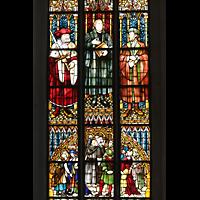 Leipzig, Thomaskirche - Bachorgel, Bunte Glasfenster mit Martin Luther-Motiv