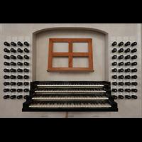 Leipzig, Thomaskirche - Bachorgel, Spieltisch der Bach-Orgel