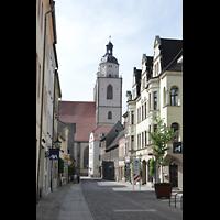 Wittenberg, Stadtkirche, Blick von der Bürgermeisterstraße auf die Türme der Stadtkirche