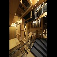 Hildesheim, Mariendom, Bälge, Windkanäle und mechanische Traktur im unteren Teil der Orgel