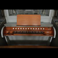 Hildesheim, St. Andreas, Spieltisch für dsa Rückpositiv auf der Orgelempore