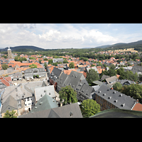 Goslar, Marktkirche St. Cosmas und Damian, Aussicht vom Nordturm in Richtung Marktplatz und Stephanikirche