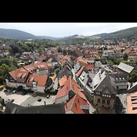 Goslar, Marktkirche St. Cosmas und Damian, Aussicht vom Nordturm nach Südwesten (links: Kaiserpfalz)