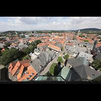 Goslar, Marktkirche St. Cosmas und Damian, Aussicht vom Nordturm nach Südosten auf die Kaiserpfalz, das Breite Tor und die Stephanikirche