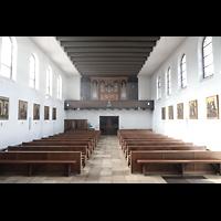 Berlin - Schöneberg, Friedhofskirche St. Fidelis, Innenraum in Richtung Orgel