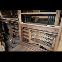 Weingarten, Basilika St. Martin - Große Orgel, Mechanik und Trakturabgänge unter dem Spieltisch