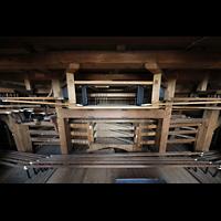 Weingarten, Basilika St. Martin - Große Orgel, Mechanik unter dem Spieltisch
