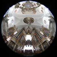 Weingarten, Basilika St. Martin - Große Orgel, Gabler-Orgel und Deckengewölbe