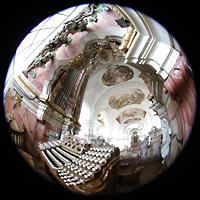 Weingarten, Basilika St. Martin - Große Orgel, Spieltisch mit darüberliegendem Glockenspiel in Weintraubenform