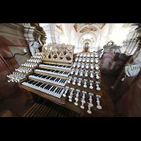 Weingarten, Basilika St. Martin - Große Orgel, Spieltisch der Gabler-Orgel seitlich