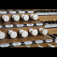 Weingarten, Basilika St. Martin - Große Orgel, Registerzüge aus Elfenbein