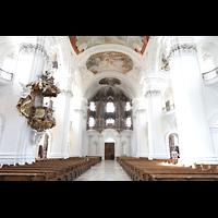 Weingarten, Basilika St. Martin - Große Orgel, Innenraum in Richtung Orgel