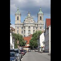 Weingarten, Basilika St. Martin - Große Orgel, Fassade mit Doppeltürmen, Ansicht von der Abt-Hyller-Straße