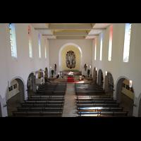 Konstanz, St. Gebhard (Konzilsorgel), Blick vom Spieltisch in die Kirche