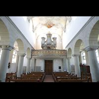 Reichenau - Niederzell, St. Peter und Paul, Innenraum in Richtung Orgel