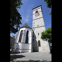 Schaffhausen, St. Johann, Chor mit Turm, Ansicht von der Pfarrhofgasse