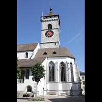 Schaffhausen, St. Johann, Chor und Turm, Ansicht von der Vordergasse