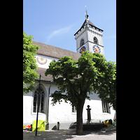 Schaffhausen, St. Johann, Seitenansicht von der Vordergasse mit Sonnenuhr