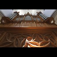 Schaffhausen, St. Johann, Blick vom Spieltisch auf den Orgelprospekt