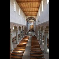 Schaffhausen, Münster (ehem. Kloster zu Allerheiligen), Innenraum in Richtung Chor, Blick von der Orgelempore