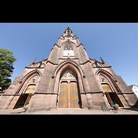 Bühl (Baden), Münster St. Peter und Paul (Chororgel), Fasssade mit Turm perspektivisch