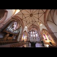 Bühl (Baden), Münster St. Peter und Paul (Chororgel), Chorraum mit Rieger-Orgel im linken Querschiff