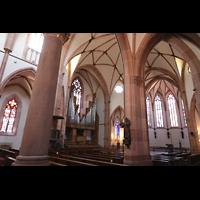 Bühl (Baden), Münster St. Peter und Paul (Chororgel), Seitlicher Blick ins Querschiff mit Rieger-Orgel