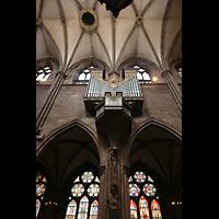 Freiburg, Münster unserer lieben Frau, Langhausorgel und Seitenwand mit bunten Glasfenstern