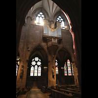 Freiburg, Münster unserer lieben Frau, Blick vom Seitnschiff durch die Bögen zur Langhausorgel